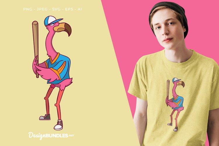 Baseball Player Flamingo Vector Illustration For T-Shirt