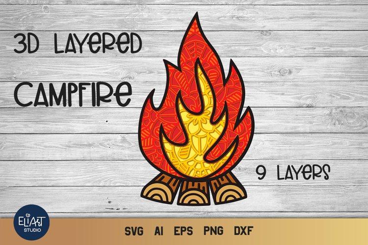 Campfire SVG | 3D Layered SVG Bonfire | Camping SVG