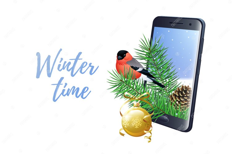 Winter Time concept with smartphone and bullfinch. example image 1