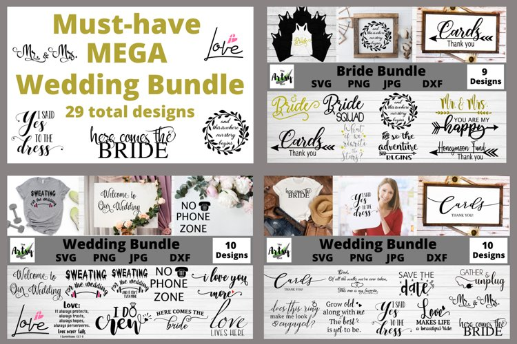 MEGA Wedding Bundle, Wedding svg Bundle, Bride svg bundle