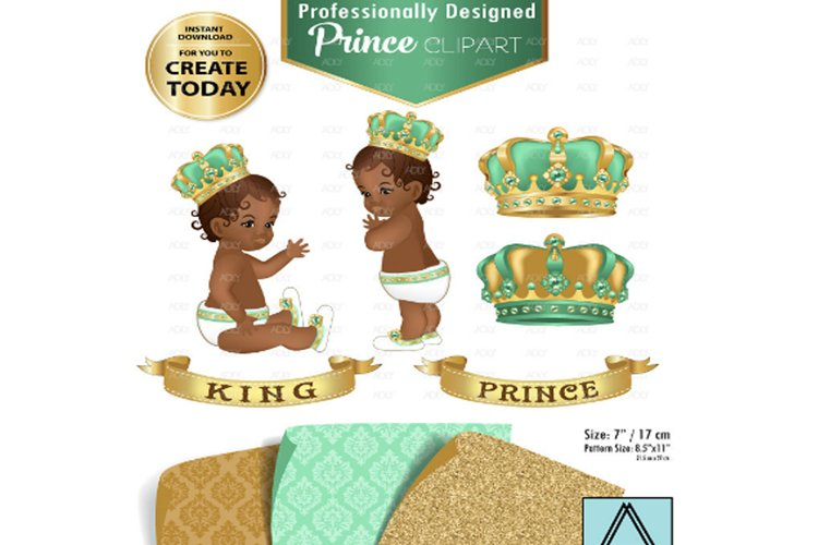Mint green and Gold Baby Prince/King Royal Digital Clipart example image 1