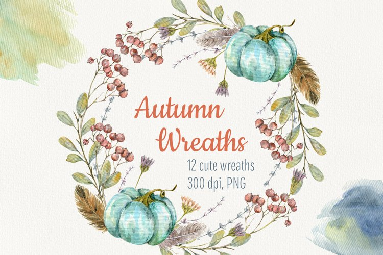 Watercolor autumn wreath. Isolated cliparts example image 1