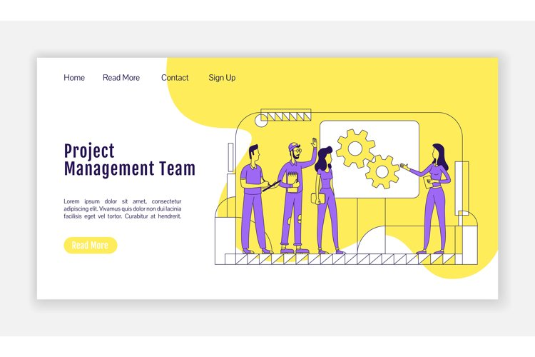 Project management team landing page flat vector template example image 1