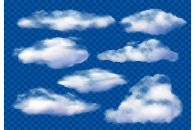 Realistic clouds. Cloudy sky, fluffy cloud and white vapor c example image 1