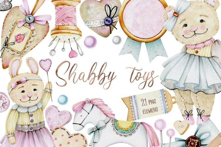 Shabby toys markers clipart