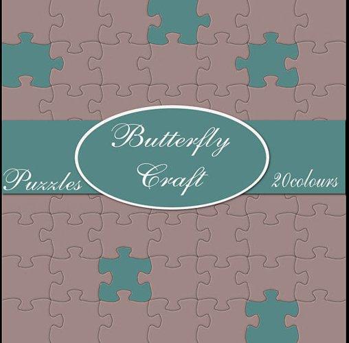Puzzle digital paper, 20 colors puzzle, Puzzle pieces patter example image 1
