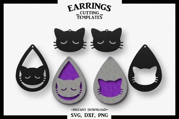 Cat Earrings, Silhouette, Cricut, Cut File, SVG DXF PNG example image 1