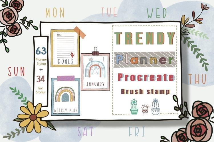 Procreate Brush Stamp Trendy Planner-Planner Procreate Brush example image 1