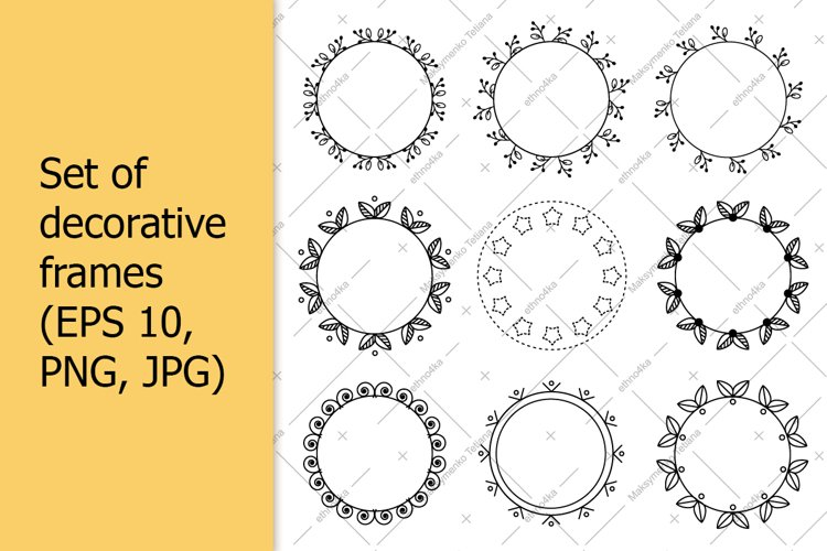 Set of decorative frames with copy space for text.