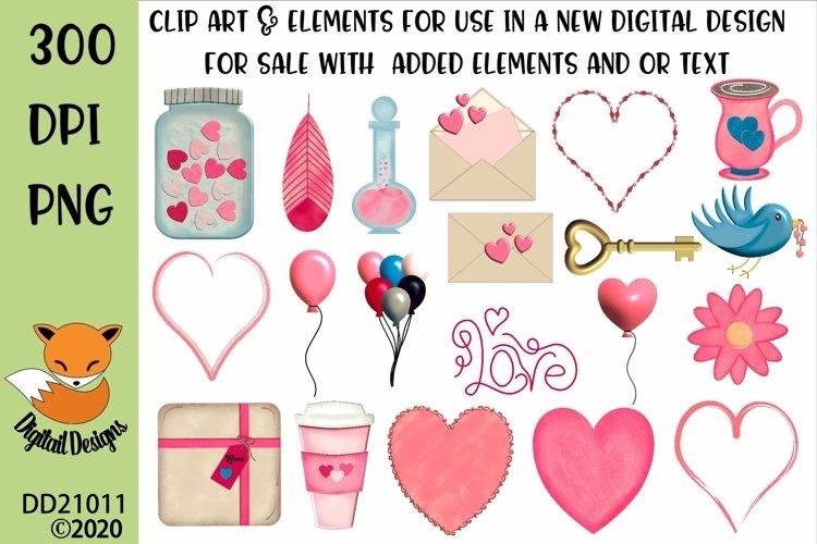 Valentine Clipart Elements Sublimation Scrapbooking Bundle