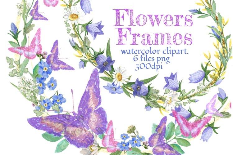 Floras frames , watercolor clipart.