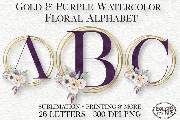 Gold Purple Watercolor Floral Alphabet Set, Alphabet Clipart