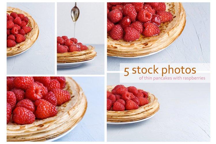 Set of 5 stock photos of thin pancakes with raspberries