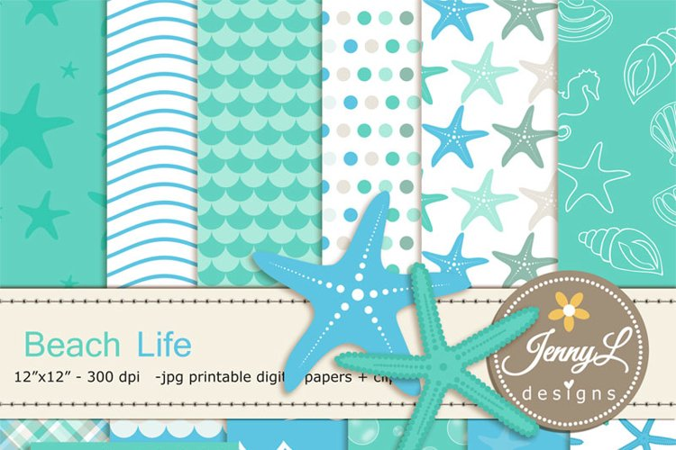 Beach digital papers and Starfish clipart SET