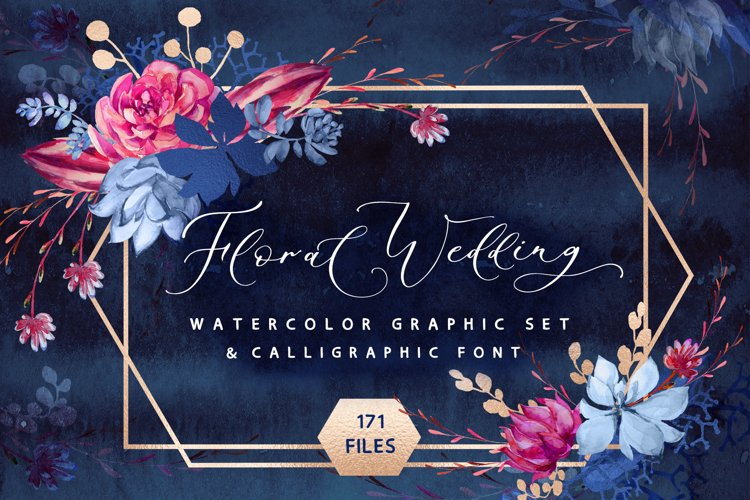 Floral wedding graphic & font set example image 1