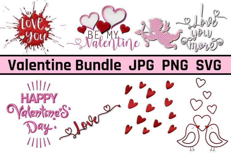 Valentines Day JPG, PNG, SVG Clipart, Wordart Bundle