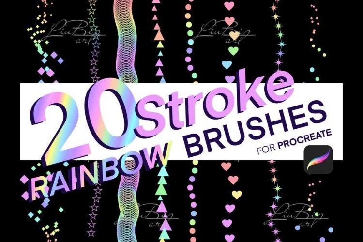 20 Procreate Rainbow Stroke Brushes Set. Geometric Doodle