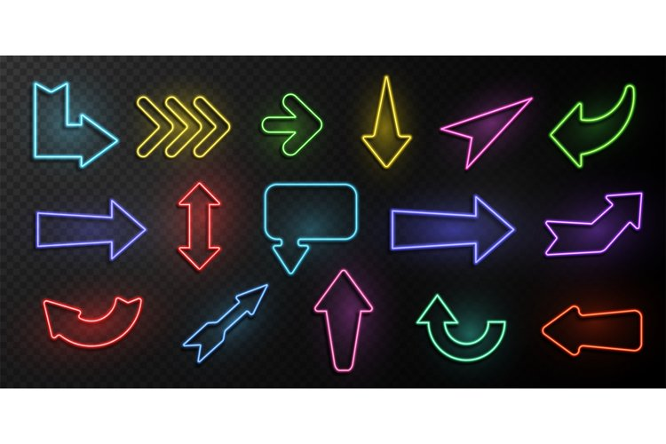 Neon arrows. Lighting with bright design signs, glowing vint example image 1
