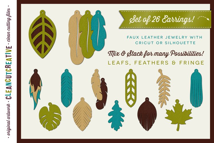 Set of 26 Faux Leather Earrings - SVG DXF EPS PNG craft file example image 1