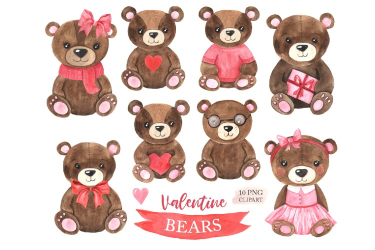 Watercolor Valentine Day Bear Clipart