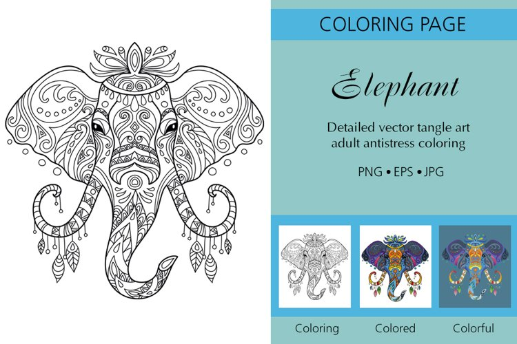 Coloring for adult tangled head of Elephant