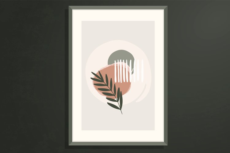 Vector wall art, poster with abstract botanical shapes