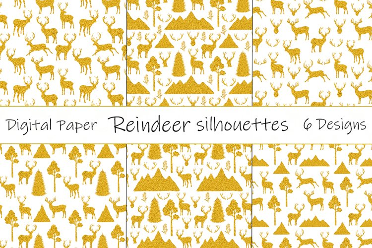 Reindeer golden. Reindeer silhouettes pattern. Reindeer SVG example image 1