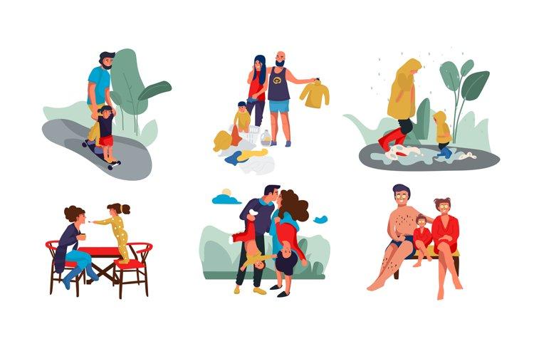 Family scenes. Happy parents and children trendy cartoon cha example image 1