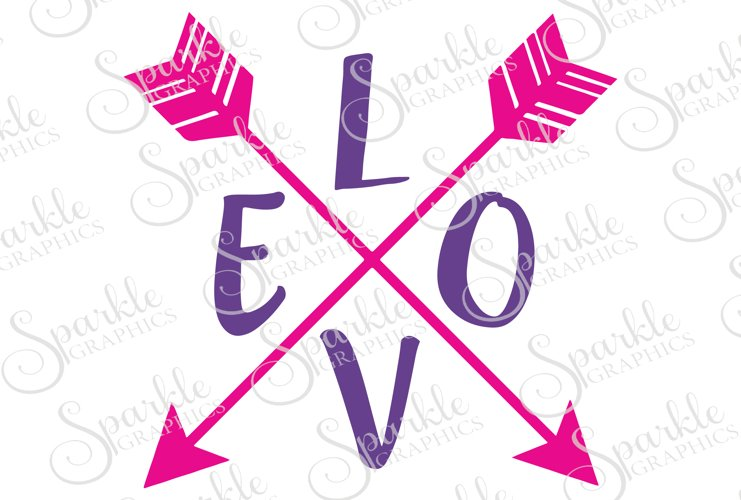 Love Arrow Cut File    SVG, EPS, DXF, PNG example image 1