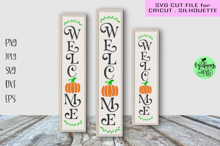 Welcome fall porch sign svg, fall wood sign svg example image 1