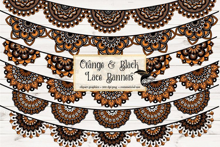 Orange and Black Lace Banners Clipart