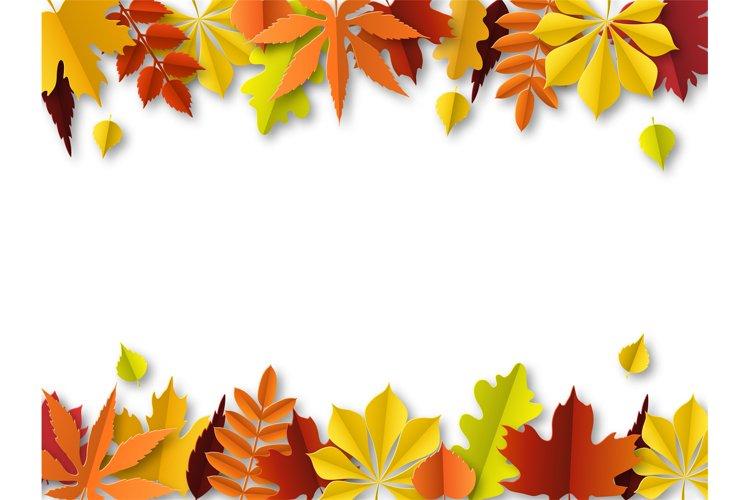 Fall leaves concept. Autumn border, paper cut frame of orang example image 1