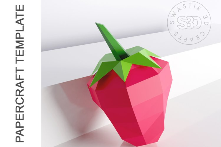 PDF Template of 3d Strawberry fruit papercraft /lowpoly SVG example image 1