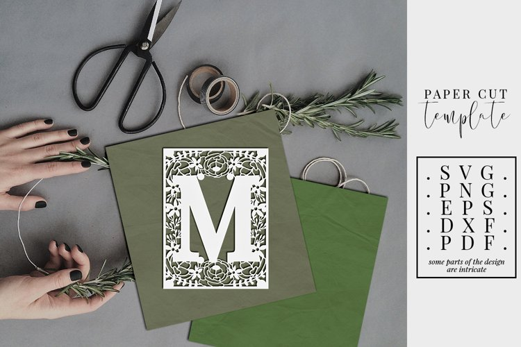 Floral frame letter M, single initial paper cut, wedding SVG example image 1