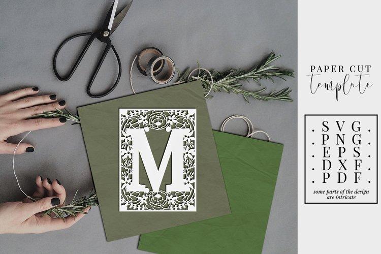 Floral frame letter M, single initial paper cut, wedding SVG