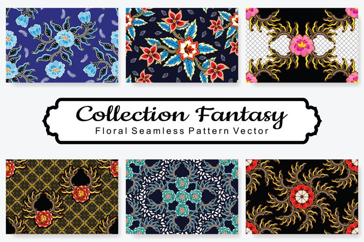 Set Of Fantasy Floral Vector Pattern Vol.11 example image 1