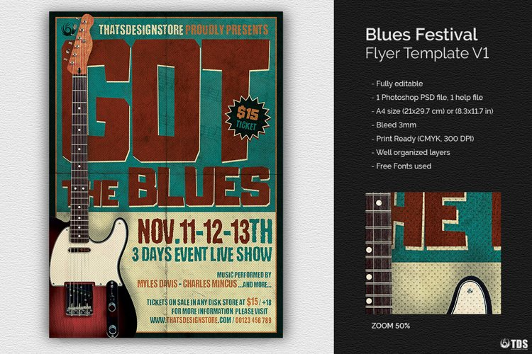 Blues Festival Flyer Template V1 example image 1