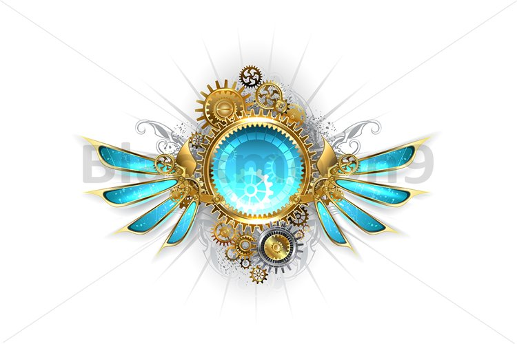 Banner with Glass Mechanical Wings ( Steampunk ) example image 1