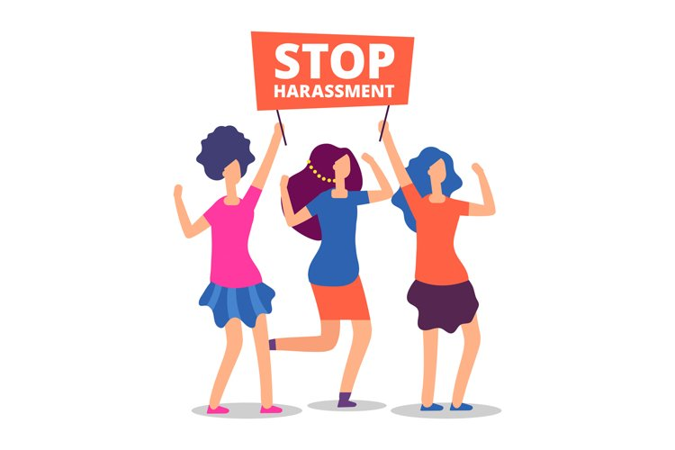 Sexual harassment concept. Stop abuse female demonstrations example image 1