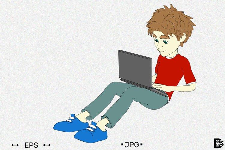 Boy sitting on floor using laptop. Vector illustration.