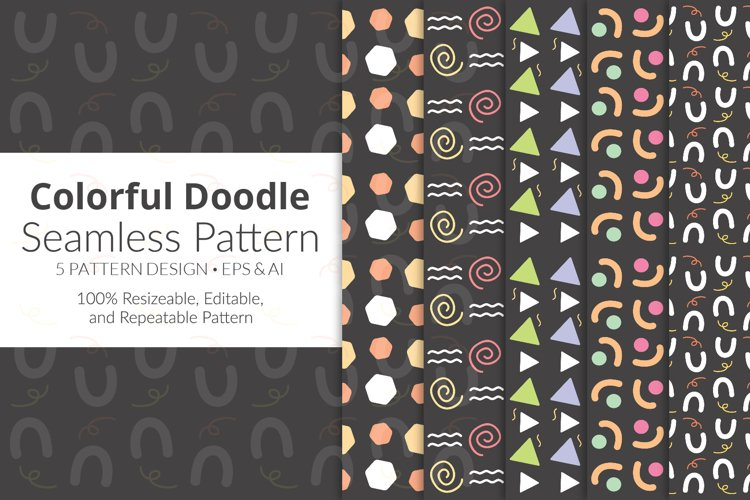 Colorful Doodle Seamless Pattern Pack