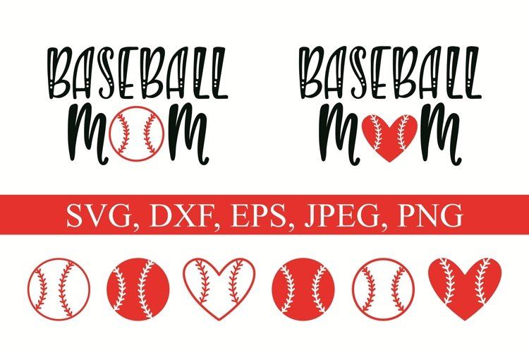 Baseball Mom and ball silhouettes. Hand drawn typography design. SVG DXF PNG EPS Cutting Files example image 1