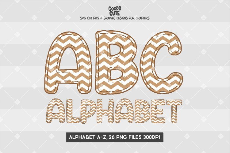 Brown Pastel Zigzag Alphabet - Sublimation PNG example image 1