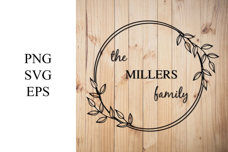 Monogram Wreath Family Sign | Custom Wreath Sign SVG example image 1