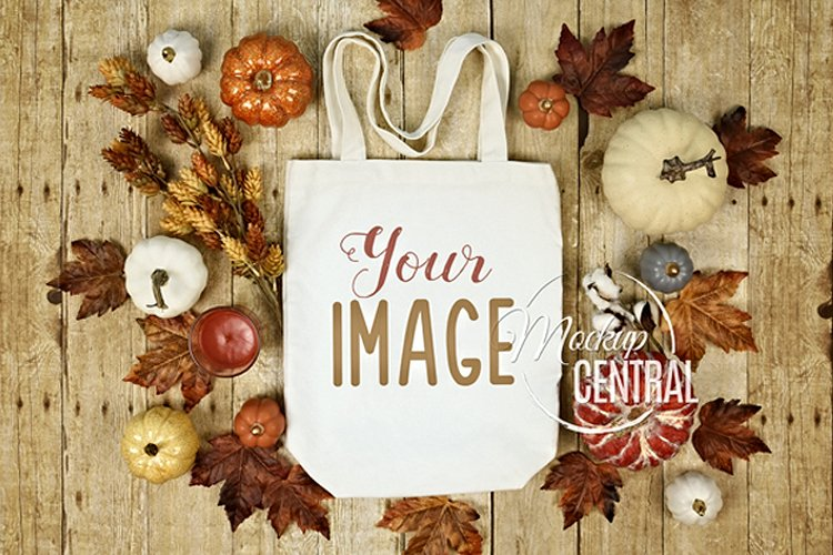 White Halloween Fall Tote Bag Mockup JPG, Flat Lay Photo example image 1