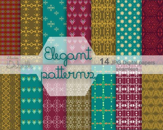 Elegant Patterns digital paper pack seamless pattern