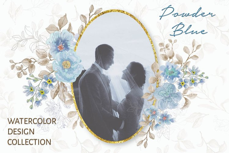 Powder blue watercolor design set