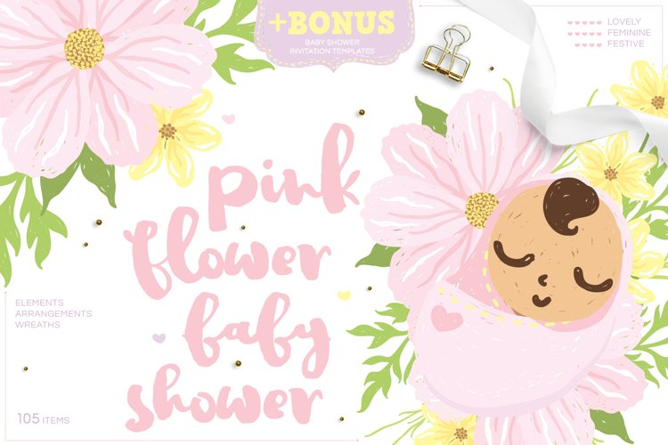 Pink Flower Baby Shower - Cute baby girl and cosmos flower