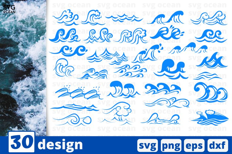 30 WAVES SVG BUNDLE | wave svg | ocean waves cricut