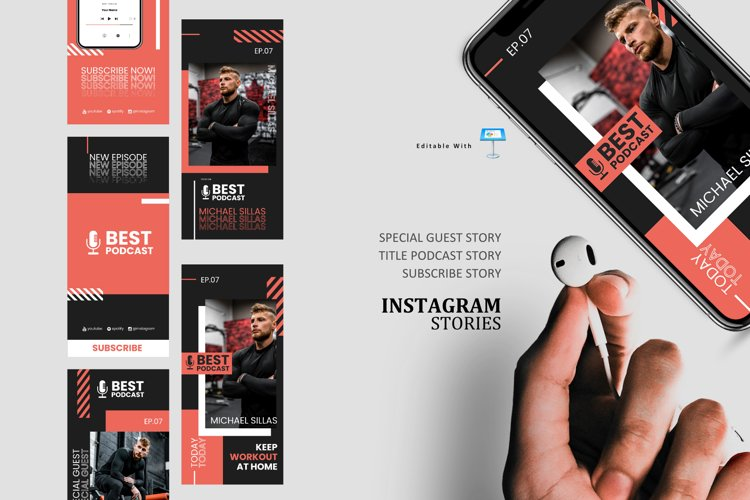 Healthcare podcast talk ig stories and post keynote template